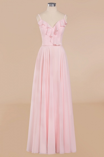 Stylish Draped V-Neck Pink Chiffon Bridesmaid Dress with Spaghetti Straps_10