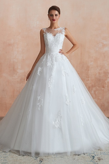 Affordable Sweetheart Sleeveless White Lace Wedding Dresses Online_2