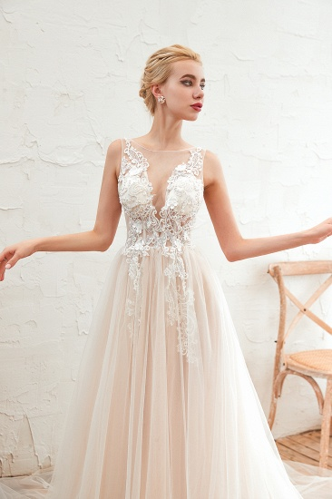 Unique Tulle V-Neck Ivory Affordable Wedding Dress with Appliques_10