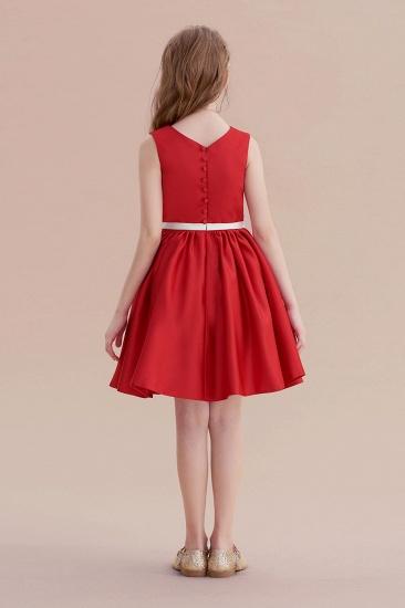 BMbridal A-Line Affordable Appliques Satin Flower Girl Dress Online_3