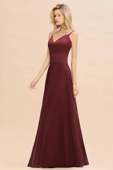 BMbridal Simple Satin Chiffon Spaghetti-Straps Burgundy Long Bridesmaid Dress_8