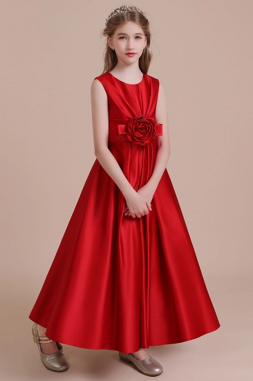BMbridal A-Line Chic Satin Ankle Length Flower Girl Dress Online_4