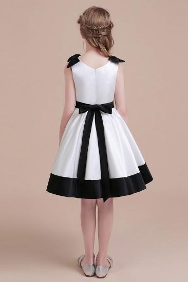 BMbridal A-Line Latest Satin Knee Length Flower Girl Dress Online_3
