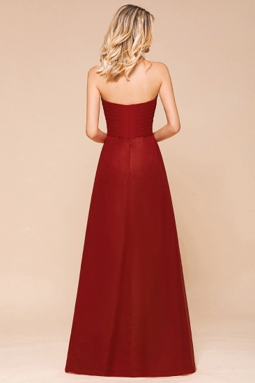 Gorgeous Sweetheart Strapless Rust Bridesmaid Dresses with Ruffle_3