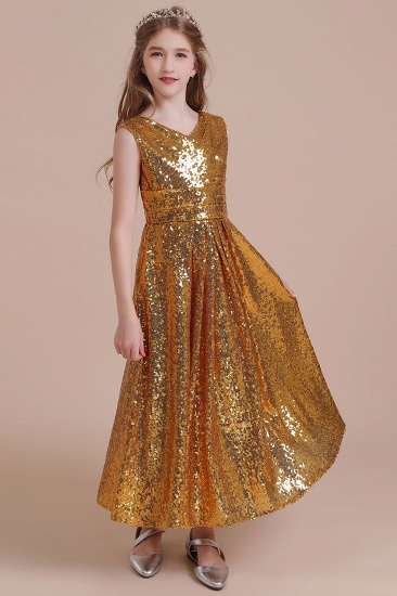 BMbridal A-Line Amazing Sequins V-neck Flower Girl Dress Online_5