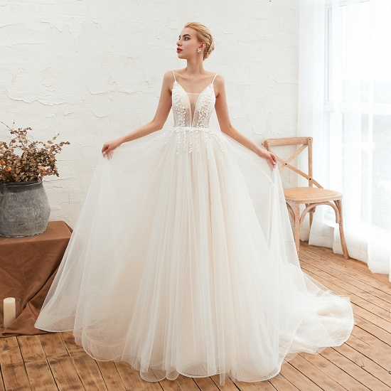 Chic Spaghetti Straps V-Neck Ivory Tulle Wedding Dresses with Appliques_5