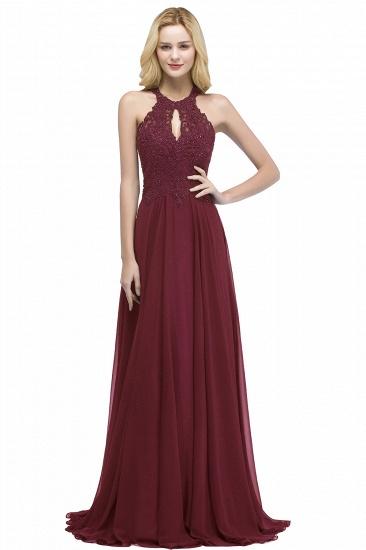 BMbridal A-line Keyhole Neckline Halter Long Beading Prom Dress_2