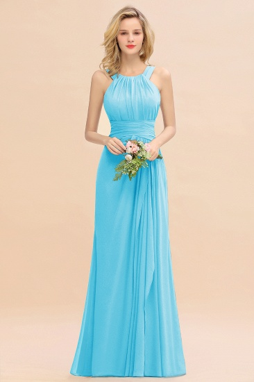 Elegant Round Neck Sleeveless Stormy Bridesmaid Dress with Ruffles_24