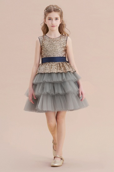 BMbridal A-Line Sequins Tulle Knee Length Flower Girl Dress On Sale_1