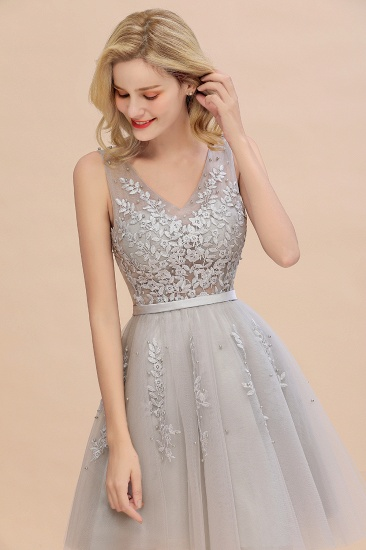 BMbridal ElegantSleeveless Silver Bridesmaid Dress V-neck  Junior Bridesmaid Dress_4