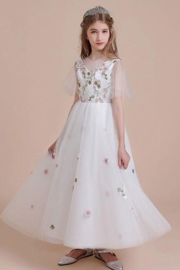 BMbridal A-Line Short Sleeve Embroidered Tulle Flower Girl Dress On Sale_6