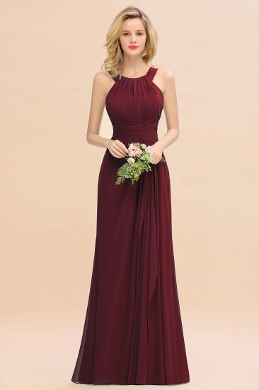 Elegant Round Neck Sleeveless Stormy Bridesmaid Dress with Ruffles_10