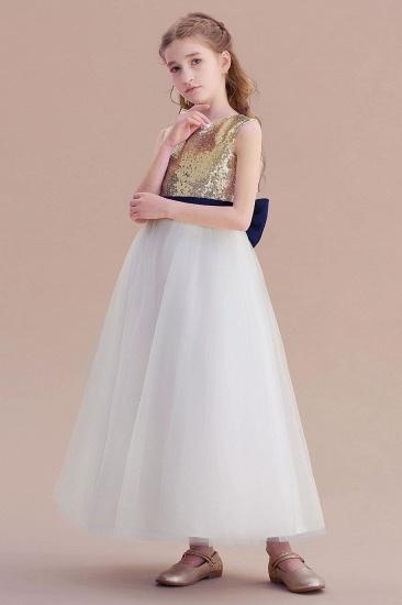 BMbridal A-Line Bow Sequins Ankle Length Flower Girl Dress Online_4