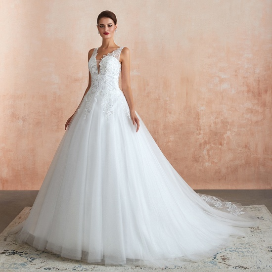 Fantastic Tulle Appliques Sleeveless White Wedding Dresses Online_5