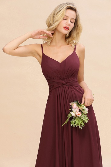 Modest Ruffle Spaghetti Straps Backless Burgundy Bridesmaid Dresses Cheap_57