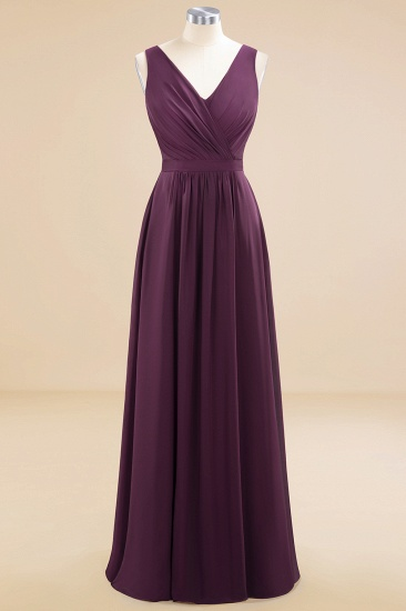 BMbridal Affordable V-Neck Ruffle Long Grape Chiffon Bridesmaid Dress with Bow_59