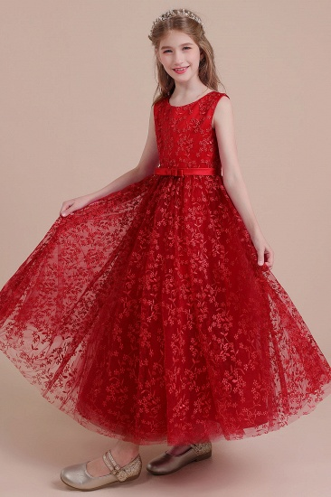 BMbridal A-Line Elegant Ankle Length Tulle Flower Girl Dress Online_7