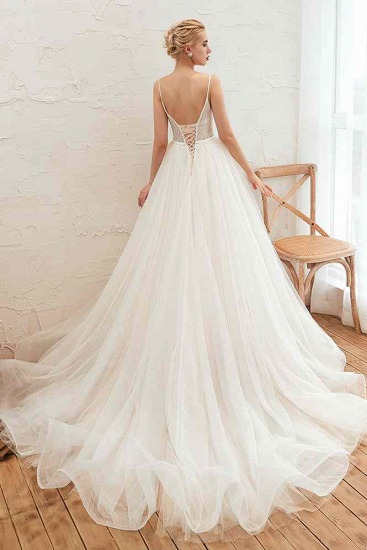 Chic Spaghetti Straps V-Neck Ivory Tulle Wedding Dresses with Appliques_3