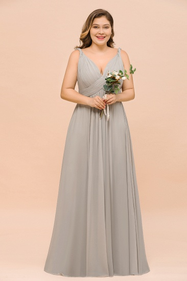BMbridal Plus Size Chiffon V-neck Sleeveless Affordable Bridesmaid Dress with Ruffle_1