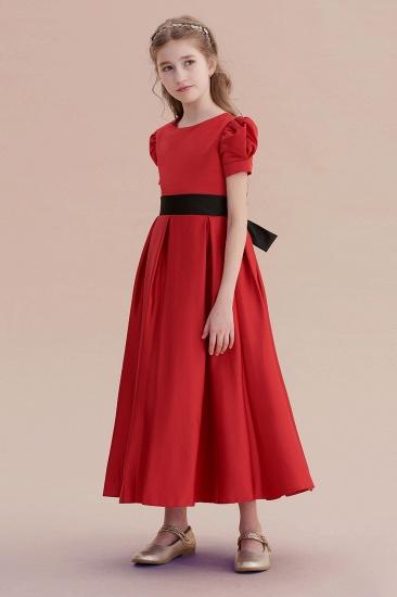 BMbridal A-Line Awesome Short Sleeve Satin Flower Girl Dress Online_4