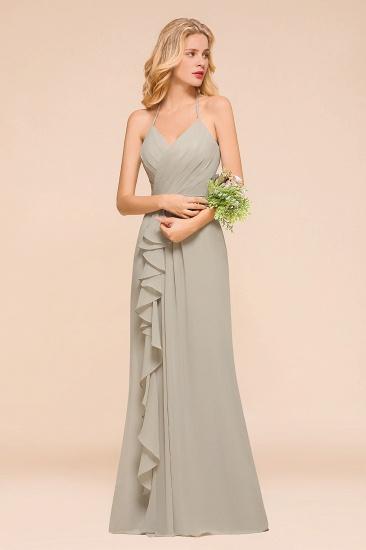 Affordable Halter V-Neck Ruffle Silver Chiffon Bridesmaid Dress Online_4