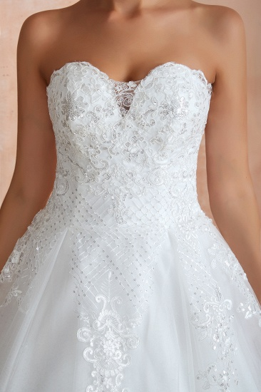 Stylish Strapless White Lace Cheap Wedding Dress Online with Low Back_4