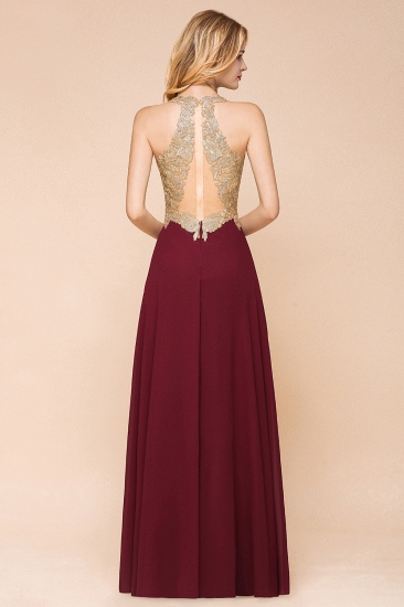 BMbridal Gorgeous V-Neck Burgundy Prom Dress Long Sleeveless Evening Gowns With Appliques_8