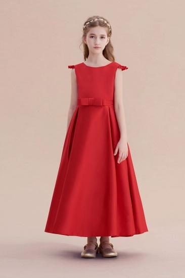 BMbridal A-Line Satin Bow Ankle Length Flower Girl Dress On Sale_1