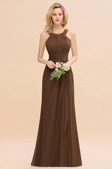 Elegant Round Neck Sleeveless Stormy Bridesmaid Dress with Ruffles_12