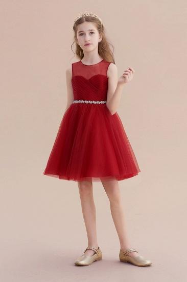 BMbridal A-Line Illusion Tulle Knee Length Flower Girl Dress Online_5