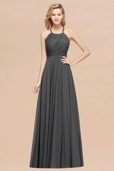 BMbridal Halter Crisscross Pleated Bridesmaid Dress Blue Chiffon Sleeveless Maid of Honor Dress_46