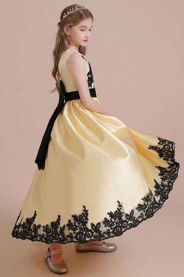 BMbridal A-Line Chic Bow Appliques Satin Flower Girl Dress Online_7