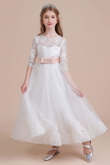 BMbridal A-Line Illusion Lace Tulle Ankle Length Flower Girl Dress On Sale_8
