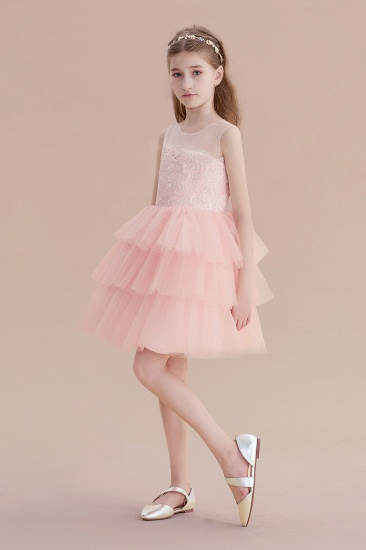 BMbridal A-Line Graceful Layered Tulle Flower Girl Dress Online_6
