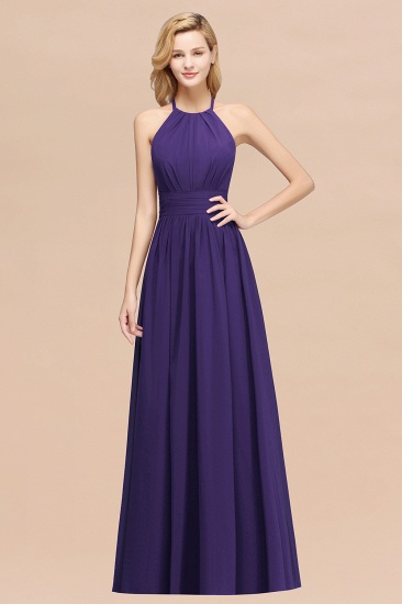 Elegant High-Neck Halter Long Affordable Bridesmaid Dresses with Ruffles_19