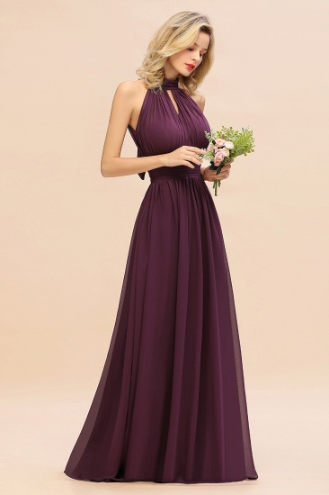 Glamorous High-Neck Halter Bridesmaid Affordable Dresses with Ruffle_56
