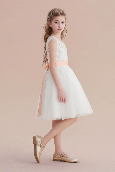 BMbridal A-Line Illusion Appliques Tulle Flower Girl Dress Online_4