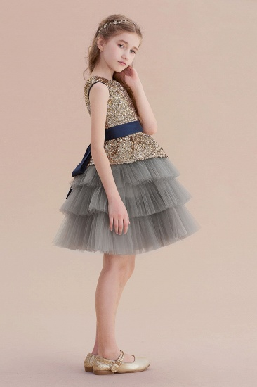 BMbridal A-Line Sequins Tulle Knee Length Flower Girl Dress On Sale_5