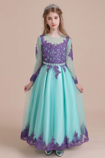 BMbridal A-Line Chic Long Sleeve Appliques Flower Girl Dress Online_1