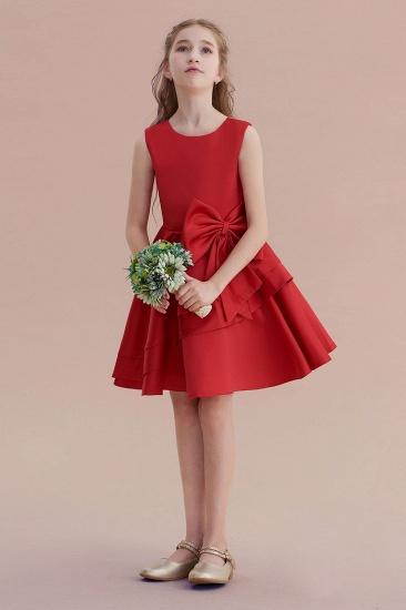 BMbridal A-Line Chic Bow Satin Knee Length Flower Girl Dress On Sale_4