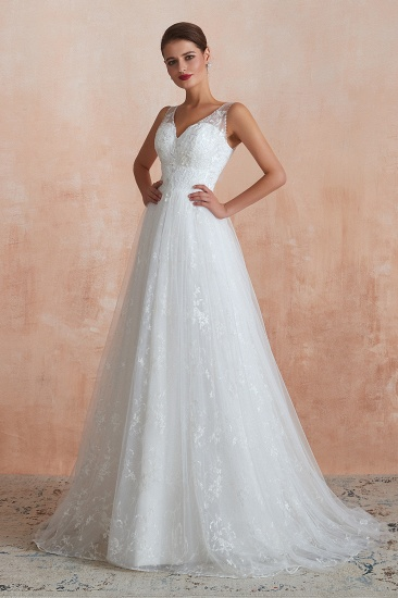 BMbridal Affordable V-Neck Tulle Lace Long White Wedding Dresses Online_8
