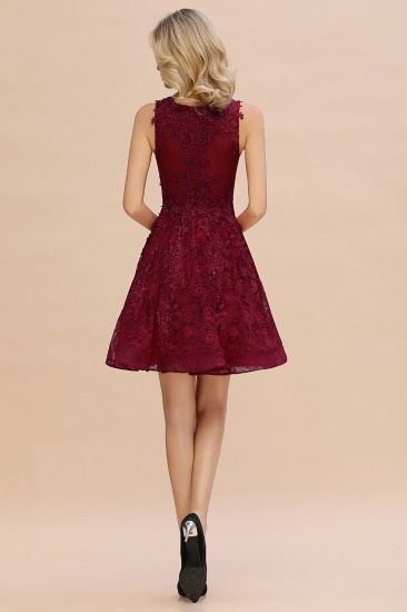 BMbridal Burgundy Sleeveless Lace Short Prom Dress Mini Party Gowns Online_6