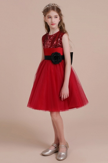 BMbridal A-Line Graceful Sequins Tulle Flower Girl Dress Online_6