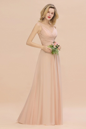 Elegant Spaghetti Straps Pink Backless Bridesmaid Dresses with Beadings_4