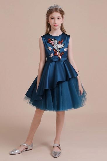 BMbridal A-Line Embroidered Satin Tulle Flower Girl Dress On Sale_4