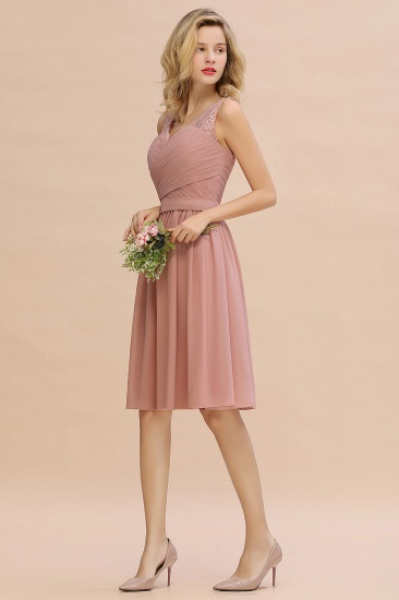 Affordable V-Neck Sleeveless Ruffles Short Lace Bridesmaid dresses Online_9