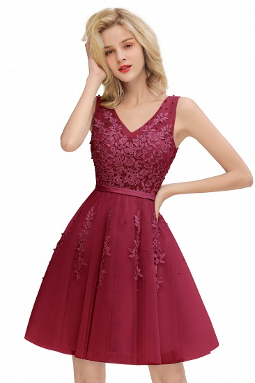 BMbridal Elegant V-Neck Sleeveless Short Prom Dress Mini Homecoming Dress With Lace Appliques_3
