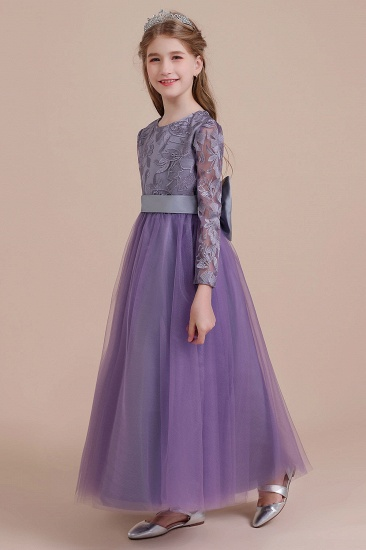 BMbridal A-Line Long Sleeve Ankle Length Flower Girl Dress On Sale_5