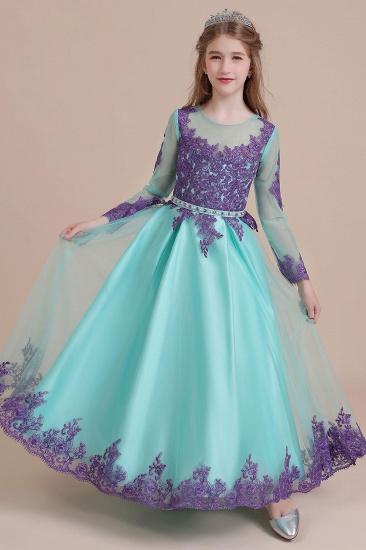 BMbridal A-Line Chic Long Sleeve Appliques Flower Girl Dress Online_9