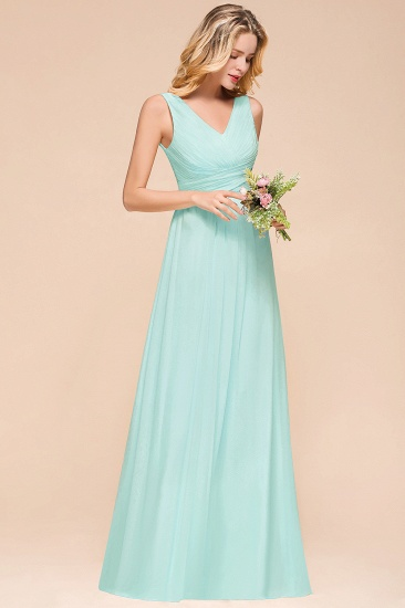 Chic V-Neck Sleeveless Mint Green Bridesmaid Dresses with Ruffle_5